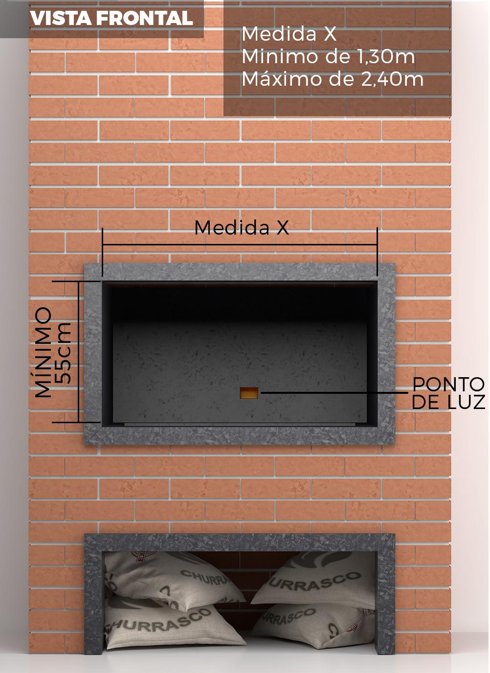 6276eedd203 A soma das 03 partes da churrasqueira TRE - Rotativo + Braseiro + Parrilla  deve ser igual a medida abaixo.